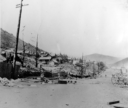 (Salt Lake Tribune Archive)  The view looking North on Park Ave. following the June 1898 fire that devastated Park City.