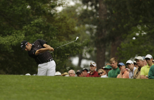 Trevor Immelman, of South Africa, during the fourth round of the Masters golf tournament Sunday, April 14, 2013, in Augusta, Ga. (AP Photo/Matt Slocum)