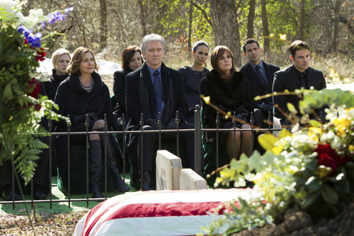 """Courtesy photo The Ewing family gathers for J.R.'s funeral on """"Dallas."""""""