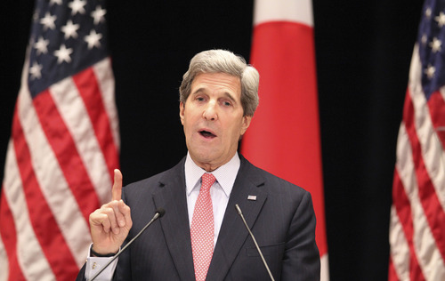 U.S. Secretary of State John Kerry speaks during his lecture to students at Tokyo Institute of Technology in Tokyo, Monday, April 15, 2013. Kerry is here as part of Asian tour amid a tense situation over a possible missile launch by North Korea. (AP Photo/Junji Kurokawa, Pool)