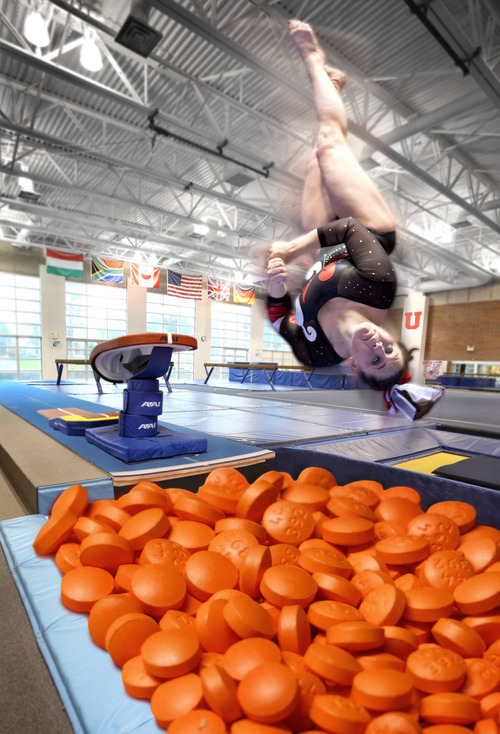 "Photo illustration by Francisco Kjolseth | The Salt Lake Tribune Utah gymnast Becky Tutka is no stranger to physical pain. She has a long history of injuries that led her to begin taking ibuprofen regularly when she was 10. ""I don't think I could do this without medicine,"" says Tutka, wearing a heat pack on her lower back at left."