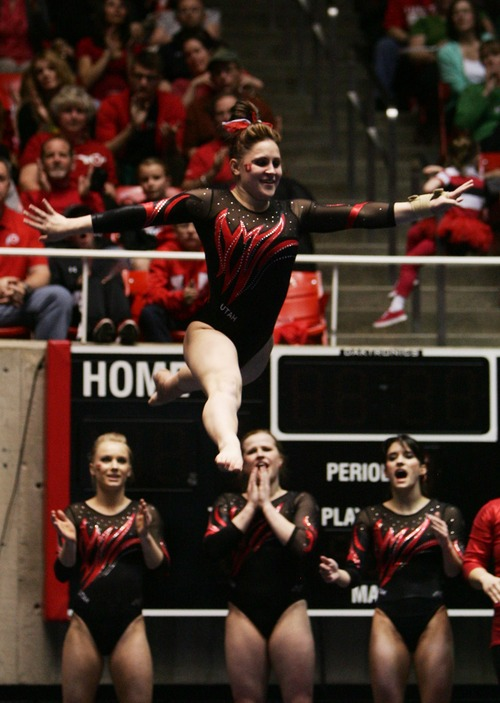 "Kim Raff | Tribune file photo U. gymnast Becky Tutka got a perfect 10 on this floor routine at the Huntsman Center last month against Florida. When Tutka was 13, a doctor told her she had the elbows ""of an 80-year-old."""