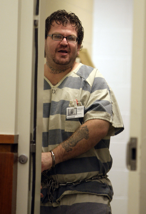 Joseph Allen Nance appears before the Second District Court in Farmington, Utah Monday, September, 26, 2012. Nance is charged with the shooting death of his father in a motel in Kaysville.(photo by Matthew Arden Hatfield)