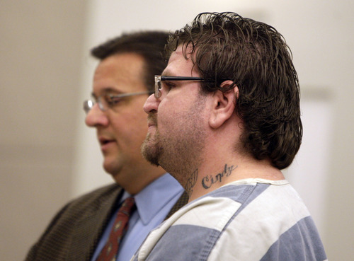 Joseph Allen Nance, right, appears before the Second District Court in Farmington, Utah with his attorney Todd Utzinger Monday, September, 26, 2012. Nance is charged with the shooting death of his father in a motel in Kaysville.(photo by Matthew Arden Hatfield)
