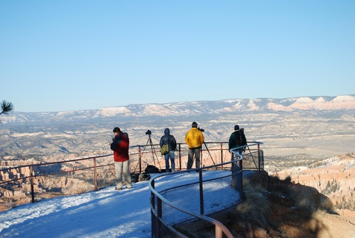 Brian Maffly   The Salt Lake Tribune Wintertime visitors wait for the sunset to photograph the views from Inspiration Point in Bryce Canyon National Park, which is struggling to accommodate increasing traffic congestion in the peak summer season.