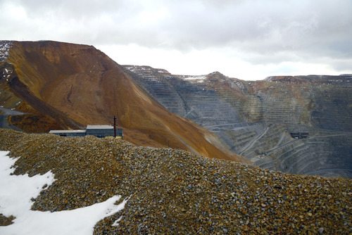 Photo taken by Rio Tinto-Kennecott Copper The company had been monitoring movement along the copper pit's northeast wall since February and evacuated all personnel from the mine more than 12 hours before the slide Wednesday night.