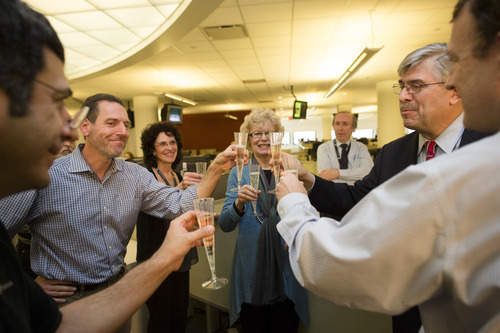 Members of the Associated Press Headquarters newsroom toast with champagne after the announcement of the 2013 Pulitzer Prize awardees, Monday, April 15, 2013, in New York. Associated Press photographers Rodrigo Abd, Manu Brabo, Narciso Contreras, Khalil Hamra, and Muhammed Muheisen won the 2013 Pulitzer Prize for Breaking News Photography for their work covering the Syrian civil war. (AP Photo/John Minchillo)