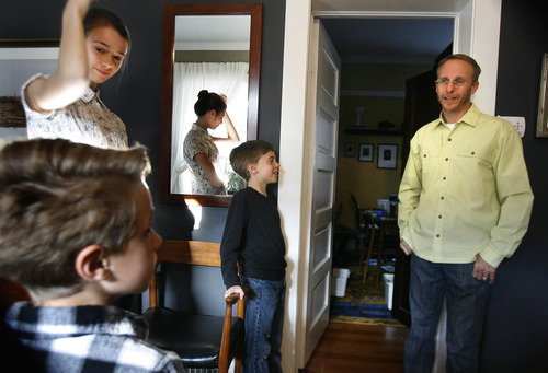 Scott Sommerdorf   |  The Salt Lake Tribune Paul Lee has been stepfather to 16-year-old Izzy Peterson since she was 5. Paul is married to Merrie Campbell-Lee and they have two young sons together, Finn 7, left, and Sullivan 9, center. Paul hangs out with the kids prior to dinner together, Friday, April 12, 2013.
