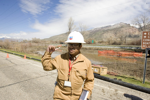 Paul Fraughton  |  The Salt Lake Tribune Patrick Green, incident commander for the Chevron pipeline spill at Willard Bay State Park, points out the area where the pipe spilled diesel fuel on March 18.  Wednesday, April 10, 2013