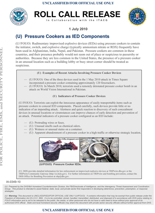This Homeland Security Department pamphlet, from July 2010, distributed to police, fore, EMS and security personnel shows a diagram for rudimentary improvised explosive devices (IEDs) using pressure cookers to contain the initiator, switch and explosive charge. A person briefed on the Boston Marathon investigation says at least one of the explosives were in 6-liter pressure cookers and placed in black duffel bag. (AP Photo/Homeland Security Department)