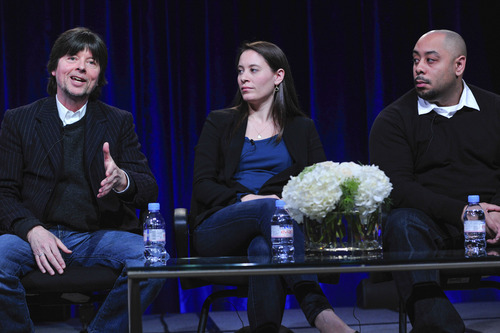 Filmmaker Ken Burns, filmmaker Sarah Burns and featured subject Raymond Santana discuss story of five teenagers who were wrongly convicted of raping a woman in Central Park in 1989. Courtesy of Rahoul Ghose
