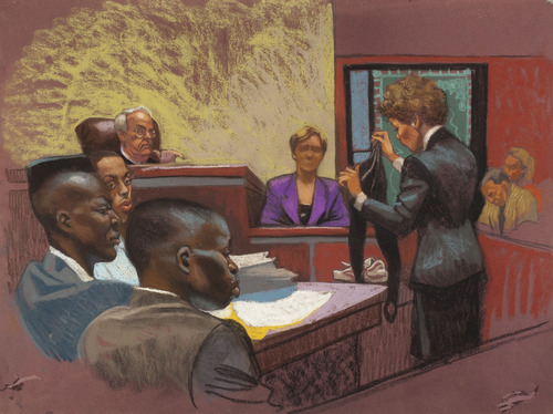 Courtesy of Christine Cornell In a courtroom rendering from the first Central Park Jogger trial, prosecutor Elizabeth Lederer examines victim Tricia Meili as defendants Yusef Salaam, Raymond Santana and Antron McCray listen.