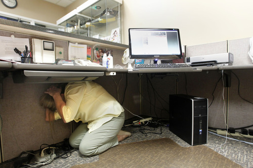 Al Hartmann  |  The Salt Lake Tribune Judy Ainsworth a secretary with the State of Utah Deparment of Public Safety ducks under her desk and covers her head during the Great Utah Shake Out, an earthquake simulation excercise at the Utah State Capitol Wednesday April 17.