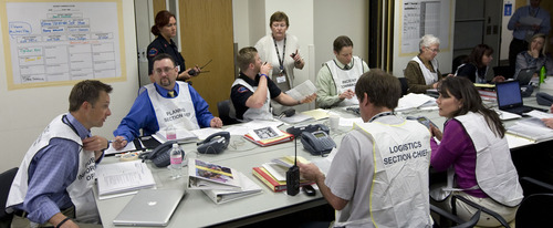 Al Hartmann  |  The Salt Lake Tribune The command center at LDS Hospital dealt with all aspects of keeping the hospital running and treating the injured in the Utah Shake Out, the state's largest earthquake drill Wednesday April 17.