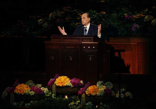 Scott Sommerdorf   |  The Salt Lake Tribune LDS President Thomas S. Monson announces the end of the afternoon session of the second day of the 183rd LDS General Conference, Sunday, April 7, 2013.