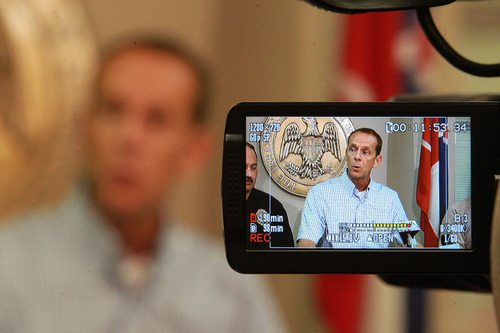 Lee County Sheriff Jim Johnson addresses the media at the Lee County Justice Center in Tupelo Miss., on Wednesday April 17, 2013 following the arrest of a suspect, Paul Kevin Curtis, 45, in the ricin attack on Sen. Roger Wicker and others over the last few days. (AP Photo/Northeast Mississippi Daily Journal, Thomas Wells)