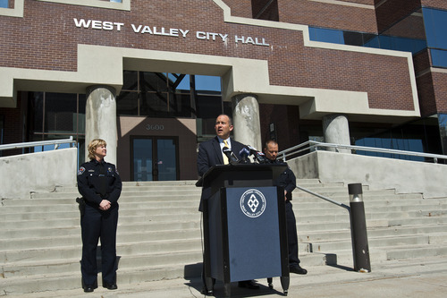 Chris Detrick  |  The Salt Lake Tribune West Valley City Manager Wayne Pyle speaks during a press conference Friday April 12, 2013 flanked by acting Police Chief Anita Schwemmer and Deputy Police Chief Mike Powell. Wayne Pyle announced Friday that an internal audit of the police department's now-disbanded narcotics unit unearthed a number of problems, including mishandling of evidence, booking evidence without documentation -- as well as the possibility of missing drugs and money.