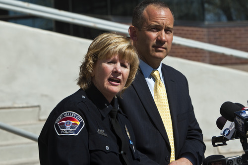 Chris Detrick  |  The Salt Lake Tribune West Valley City acting Police Chief Anita Schwemmer and City manager Wayne Pyle attend a press conference Friday April 12, 2013. Pyle announced Friday that an internal audit of the police department's now-disbanded narcotics unit unearthed a number of problems, including mishandling of evidence, booking evidence without documentation -- as well as the possibility of missing drugs and money.