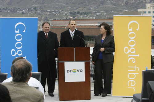 Rick Egan  | The Salt Lake Tribune    Mayor John Curtis, along with Gov. Herbert (left) and Becky Lockhart (right) makes the announcement that Provo will become one of Google's Fiber Optic cities, Wednesday, April 17, 2013.