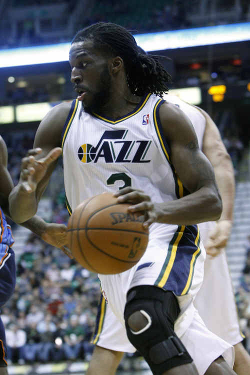 Chris Detrick  |  The Salt Lake Tribune Utah Jazz small forward DeMarre Carroll (3) drives to the basket during the second half of the game at EnergySolutions Arena Friday March 1, 2013. The Jazz won the game