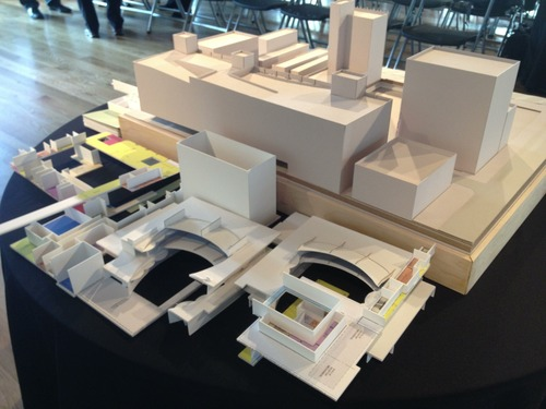The layers of an architectural model of the Utah Performing Arts Center to be built in the 100 block of Main Street are shown unassembled. The design was unveiled Wednesday, April 17, 2013.