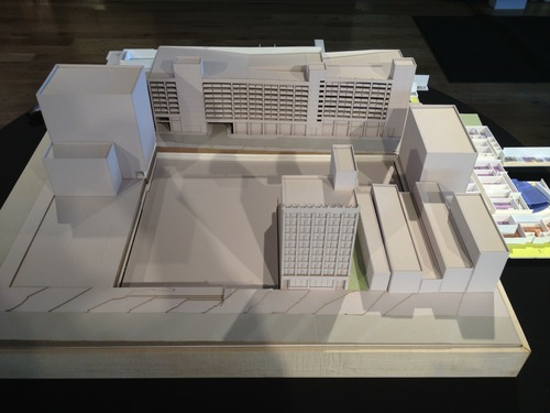 Most of the empty space on this architectural model shows the footprint of the new Utah Performing Arts Center to be built in the 100 South block of Main Street. The design was unveiled Wednesday, April 17, 2013. The view is looking east from Main Street toward the Regent Street parking structure.