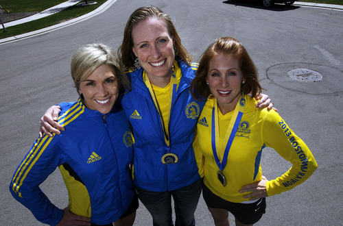 Scott Sommerdorf   |  The Salt Lake Tribune Chelsea Larson, left, Rachel Moody, and Belinda Osborne, right, all ran in the Boston Marathon, and are planning to run in Saturday's Salt Lake City Marathon just five days after the bombings that rocked the finish line in Boston. They posed for a photo Thursday, April 17, 2013 in Draper.