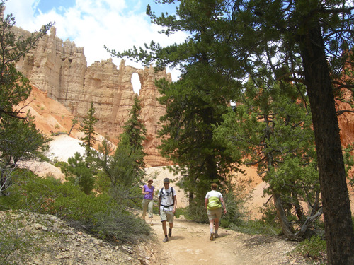 Hikers walk along the Peakaboo Trail in Bryce Canyon National Park. One of The Windows can be see above. Photo by Jason Bergreen.