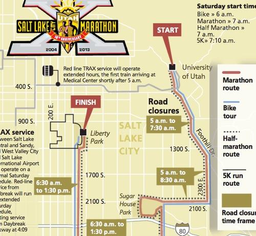 Salt Lake City Marathon route map, road closures, public transportation options and more.