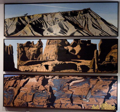 Kim Raff  |  Tribune file photo Mark Knudsen, a landscape artist, painted a tryptic of paintings depicting famous Utah geologic formations. The tryptic was recently hung in the Natural History Museum of Utah.