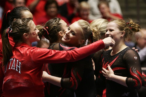 Kim Raff  |  The Salt Lake Tribune Utah gymnast Georgia Dabritz, center, is one of three Utes who could have a shot at an individual title at Sunday's NCAA championships in Los Angeles.