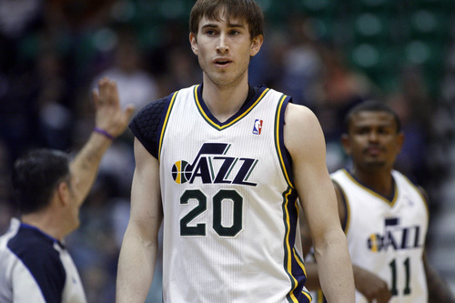Chris Detrick  |  The Salt Lake Tribune Utah Jazz shooting guard Gordon Hayward (20) during the first half of the game at EnergySolutions Arena Tuesday February 19, 2013. The Jazz are winning the game 58-53.