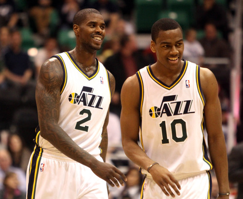 Rick Egan  | The Salt Lake Tribune   Utah Jazz power forward Marvin Williams (2) and Alec Burks (10) smile  as the Jazz extended their overtime lead to  94-89 with 14 seconds left in the game, in NBA action, Utah vs. Sacramento game, at EnergySolutions Arena, Monday, February 4, 2013.