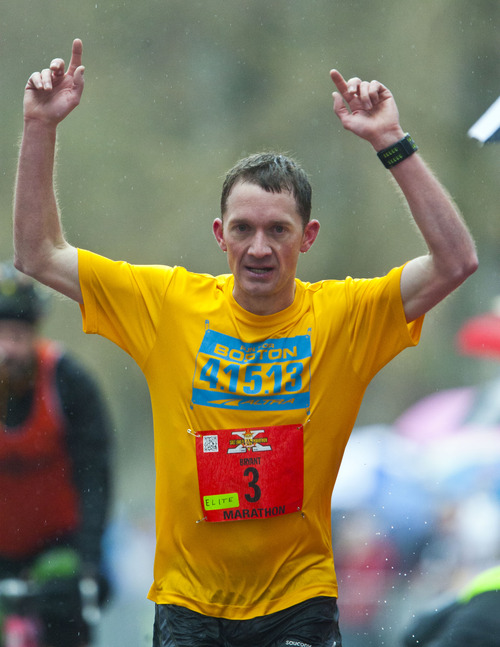 Chris Detrick  |  The Salt Lake Tribune Bryant Jensen, 29, of Ogden, wins the Salt Lake City marathon at Liberty Park Saturday April 20, 2013. Jensen's time was 2:30:14.