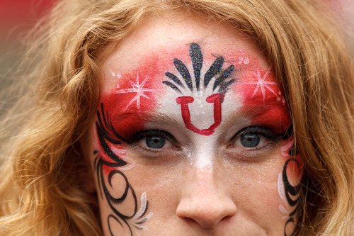 Trent Nelson  |  The Salt Lake Tribune A fan with face paint during the University of Utah's Red-White Spring football game, Saturday April 20, 2013 in Salt Lake City.