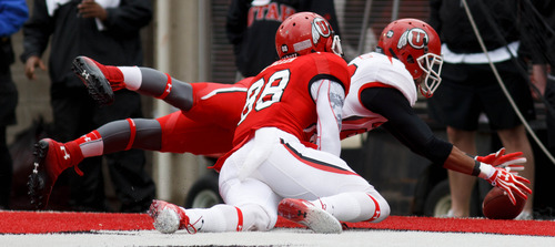 Trent Nelson  |  The Salt Lake Tribune Mo Talley recovers a fumble in the end zone during the University of Utah's Red-White Spring football game, Saturday April 20, 2013 in Salt Lake City.