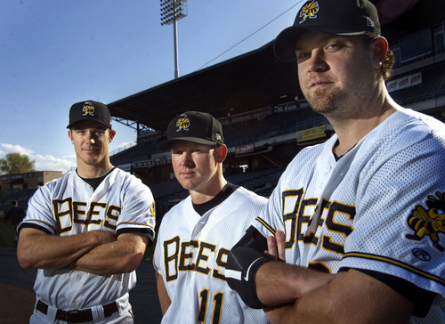 Kim Raff  |  The Salt Lake Tribune Salt Lake Bees catchers (from left) John Hester, Luke Carlin and Chris Snyder are photographed at Spring Mobile Ballpark in Salt Lake City on April 21, 2013.
