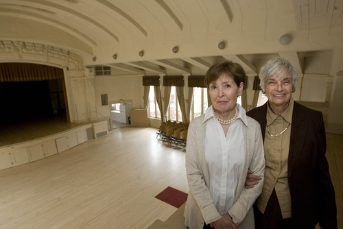 Paul Fraughton  |  The Salt Lake Tribune Laraine Christensen and Beverly S. Lund stand on the balcony overlooking the main auditorium of the Ladies' Literary Club.  Tuesday, April 2, 2013