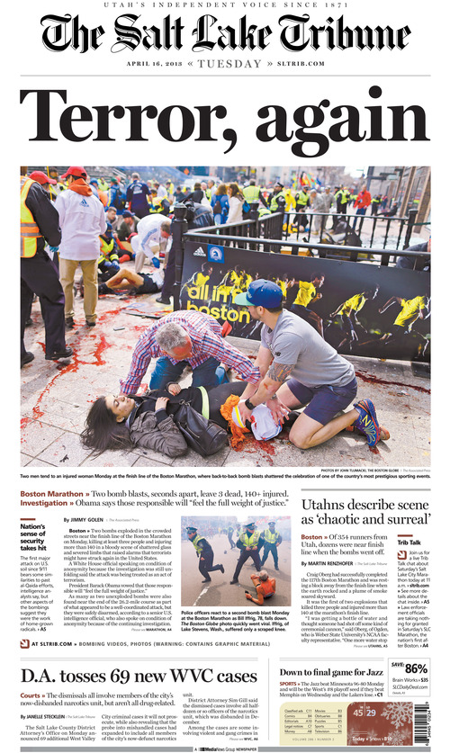 The front page of The Salt Lake Tribune on Tuesday, April 16, 2013.