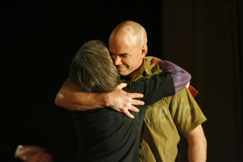 Rick Egan  | The Salt Lake Tribune   Joan Gregory, Peaceful Uprising, hugs Tim DeChristopher after the screening of the film Bidder 70, at the Tower Theater, Monday, April 22, 2013. It was DeChristopher's first public appearance since entering federal custody in 2011 for disrupting an oil-and-gas auction.