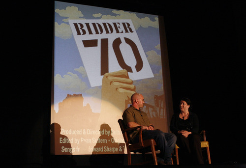 Rick Egan | The Salt Lake Tribune  Tim DeChristopher sits on stage with Tori Baker of the Salt Lake Film Society after the screening of the film Bidder 70, at the Tower Theater, Monday, April 22, 2013. It was DeChristopher's first public appearance since entering federal custody for disrupting an oil-and-gas auction.