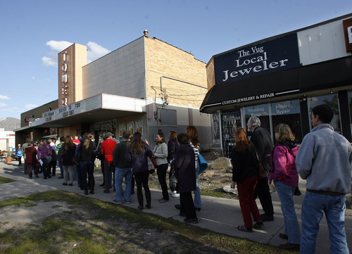 Rick Egan  | The Salt Lake Tribune   Crowds line up at the Tower Theater for the screening of the film Bidder 70, Monday, April 22, 2013. It was Tim DeChristopher's first public appearance since entering federal custody in 2011 for disrupting an oil-and-gas auction.