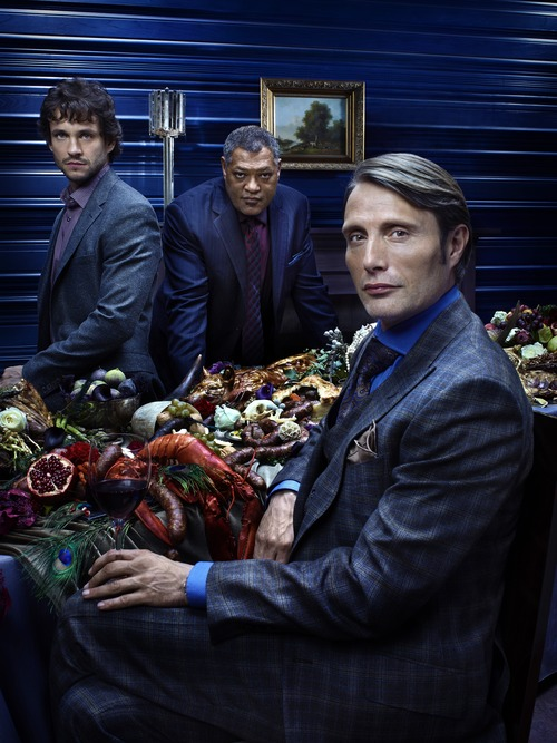 """Hugh Dancy (left) stars as Special Agent Will Graham, Laurence Fishburne as Agent Jack Crawford and Mads Mikkelsen as Dr. Hannibal Lecter in NBC's """"Hannibal."""" Courtesy photo"""
