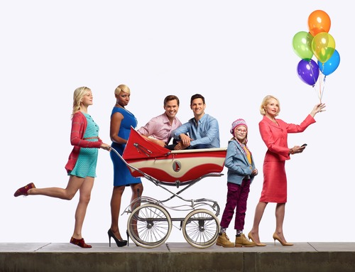 """Pictured: (l-r) Georgia King as Goldie, NeNe Leakes as Rocky, Andrew Rannells as Bryan, Justin Bartha as David, Bebe Wood as Shania, Ellen Barkin as Nana in """"The New Normal."""" Courtesy photo"""