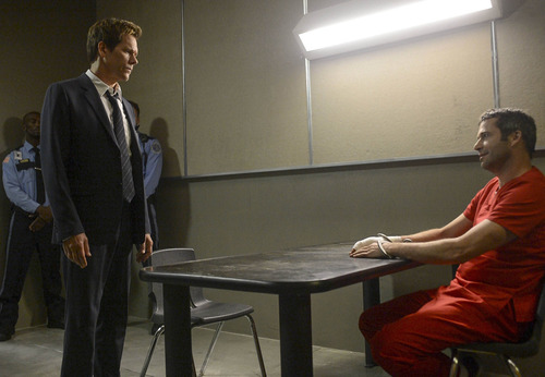 """Ryan Hardy (Kevin Bacon, L) seeks answers from Joe Carroll (James Purefoy, R) in the an episode of """"The Following."""" Courtesy photo"""