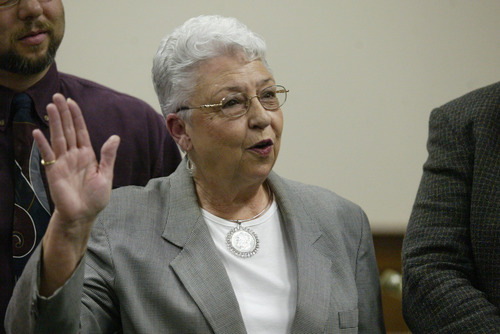 In a Jan. 5, 2004 photo Sadie Holland takes the oath of office for Justice Court Judge during the swearing in ceremony  at the Lee County Justice Center in Tupelo, Miss. The letter containing ricin sent to Holland was the only one to make into the hands of an intended target.  (AP Photo/Northeast Mississippi Daily Journal))