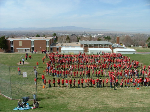 Students at Valley View Elementary in Bountiful line up outside their school to spell out the numbers 3-6-1-0-0-4 to represent the number of minutes the school read in February. KSL's Chopper 5 landed at the school and the pilot could read the numbers from the sky. Courtesy | Ted Hallisey