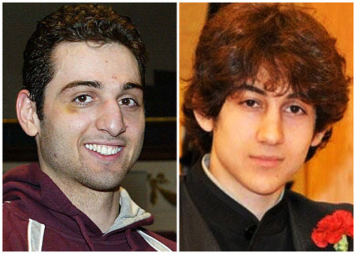 """FILE - This combination of undated file photos shows Tamerlan Tsarnaev, 26, left, and Dzhokhar Tsarnaev, 19. The FBI says the two brothers are the suspects in the Boston Marathon bombing, and are also responsible for killing an MIT police officer, critically injuring a transit officer in a firefight and throwing explosive devices at police during a getaway attempt in a long night of violence that left Tamerlan dead and Dzhokhar captured, late Friday, April 19, 2013. Tamerlan and Dzhokhar Tsarnaev sought to embrace American lives after immigrating from Russia _ joining a boxing club, winning a scholarship and even seeking U.S. citizenship. But their uncle last week angrily called them """"losers"""" who failed to feel settled even after a decade of living in the United States. (AP Photo/The Lowell Sun & Robin Young, File)"""