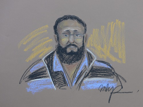 In this courtroom sketch, Chiheb Esseghaier appears in court in Montreal on Tuesday, April 23, 2013. Esseghaier, 30, and Raed Jaser, 35, were arrested and charged Monday in what the RCMP said was the first known al-Qaida terror plot in Canada. (AP Photo/The Canadian Press, MHP)