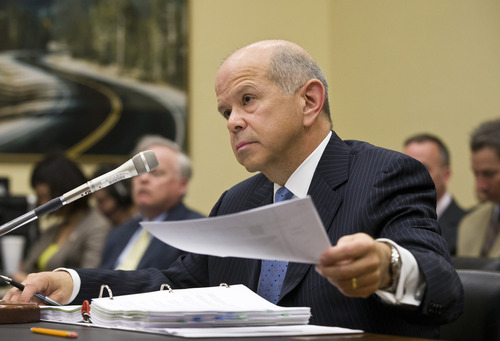 Federal Aviation Administration (FAA) chief Michael Huerta testifies on Capitol Hill in Washington, Wednesday, April 24, 2013, before the House Appropriations subcommittee on Transportation hearing on flight delays that are being caused by the FAA's decision to furlough air traffic controllers because of mandatory budget cuts.  (AP Photo/J. Scott Applewhite)